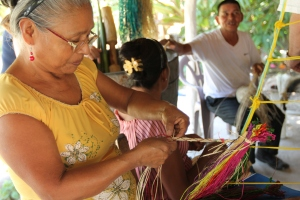 Locals creating handicrafts in Panama
